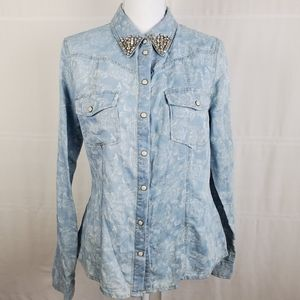 Tinseltown NWT western style light wash shirt M